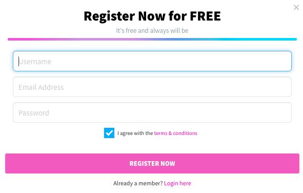 CamSoda registration